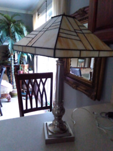 Stainless / chrome mid century modern Tiffany glass lamp lampe
