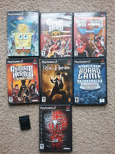Ps2 games and 1 memory card