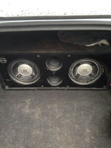 """2 10"""" subs in custom box with pioneer amp"""