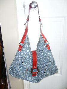 Large Guess Signature Blue Denim Hobo Style Tote