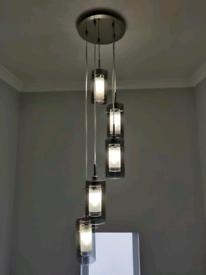 2x Smoked Glass Cylinder Hallway / Stair Pendant Light