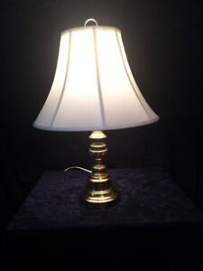 2 matching Brass Lamps Bases with 2 lampshades
