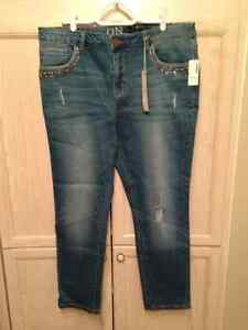Jeans with jewelled and studded accents, Size 15, NWT, $25.00