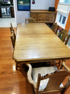 Solid Oak Dining Set: 3 Pieces, 6 Chairs!