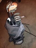 Steel shaft right handed golf clubs and pull cart