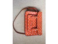 Leather orange with white spots satchel