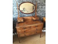 Stunning Light Oak Vintage Dressing Table with Mirror - CAN DELIVER