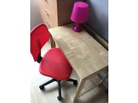 Study desk with chair and lamp