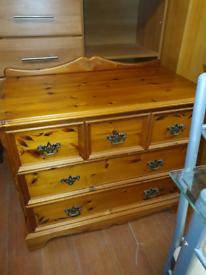 34. 5 drawer pine chest