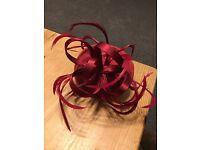 Deep red fascinator headband