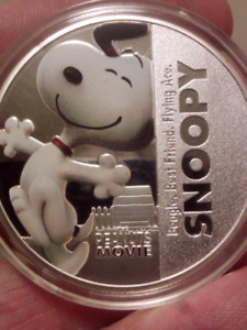 Large 40mm Snoopy The Peanuts Movie Silver Plated Coin.