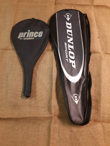 Set of tennis and squash rackets