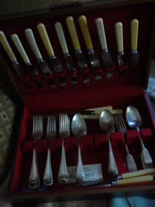"""Antique English """"Tipped"""" pattern quality flatware for 6"""