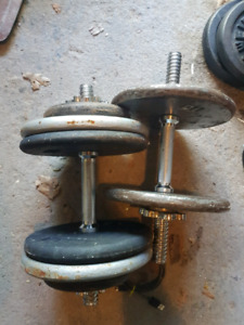 Dumbbells, weights and bench $0.50/lb