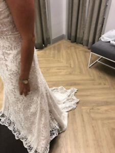 Ivory embroidered lace vintage wedding Dress and veil
