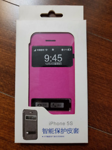 iPhone 5S Phone Case with Cover (White and Pink)