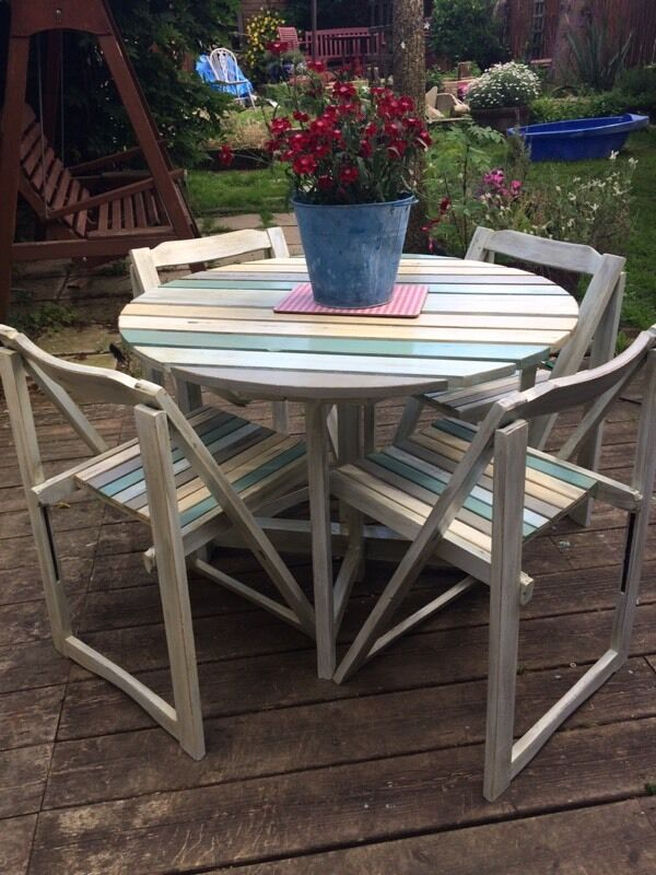 unique shabby chic garden table and chairs set