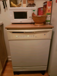 Portable dishwasher butcher block top