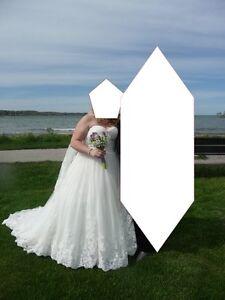 Beautiful Wedding Dress spakles in the sunlight
