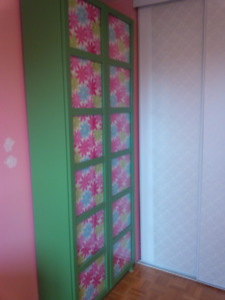 IKEA Billy Oxberg bookcase with glass doors - green and pink