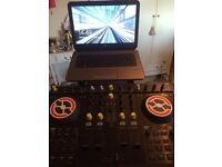 NATIVE INSTRUMENTS S4 CONTROLLER WITH HP LAPTOP, CONTROLLER AND LAPTOP STAND,