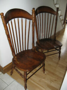 2 SOLID PECAN LG.  WOODEN CHAIRS LIKE NEW