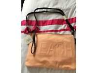 New look canvas beach zip top bag