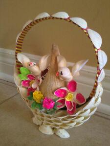 Handmade musical motion detector seashell basket birds London Ontario image 3