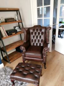 British leather Chesterfield Queen Anne Wing Chair and Foot Stool
