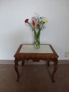 Antique Coffee Side Table – Marble Top