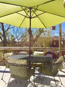 Patio Wrought Iron Dining Set for 4 with unbrella