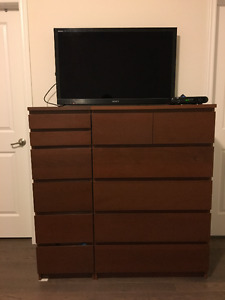 IKEA MALM 6-drawer chest 2 pieces color brown