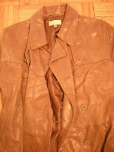 Urgent New Embossed real Suede Trench coat camel sz M mid length