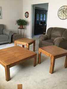2 end tables and coffee table solid oak