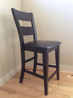 4 Leather Counter/Pub Height Dining Chairs