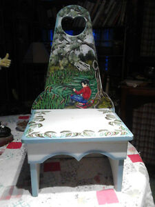 HAND CRAFTED AND HAND PAINTED CHILDRENS CHAIR