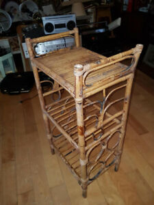 """Vintage Bamboo Rattan 3-tier accent table 28"""" tall, 15"""" by 10"""" w"""