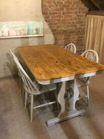 Ercol Shabby-Chic refectory table and 4 flur de'leys chairs