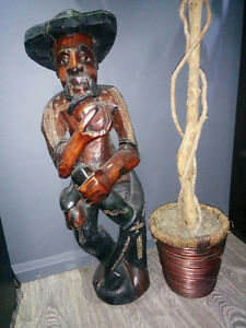 Old man by the sea  Red Mohangany wood statue 34 inch tall Cornwall Ontario image 1