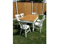 Large farm house dining table and chairs