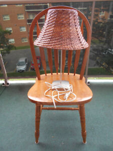 Wooden chair and matching lamp set