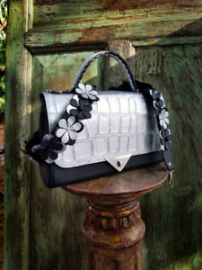 Exotic bag with flowers Studded Strap Silver from South Africa