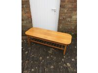 Cool late century pine coffee table with magazine rack