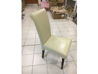 Cream leather high back antique style reading dining chair solid wood