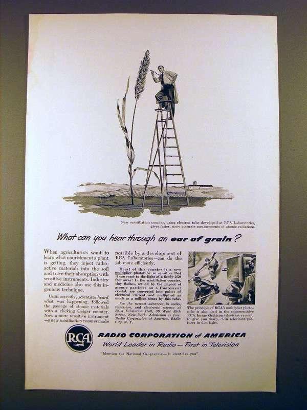 1950 RCA Scintillation Counter Ad - Hear Ear of Grain?