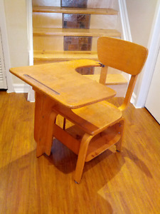Vintage Wooden School Desk and Chair