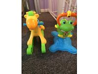 Rocking horse, frog bouncer and ball pool