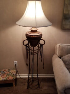 Handsome Iron & Ceramic Pedestal Lamp with Shade – PERFECT!!