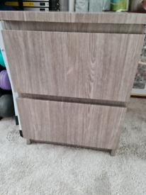 Malm 2 draw cabinet wrapped in grey wood effect oak underneath