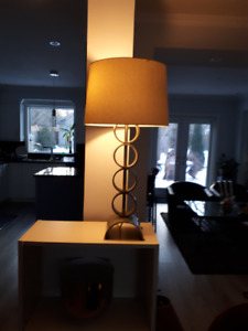 Table Lamp with Golden Stand and Matching Lampshade